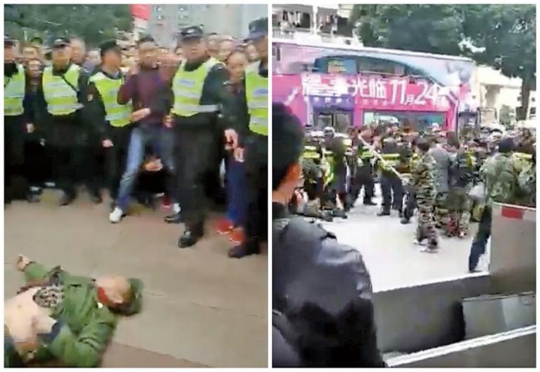 近期,中國頻頻爆發老兵集體上訪事件,多省市出現維權事件。(大紀元合成圖)