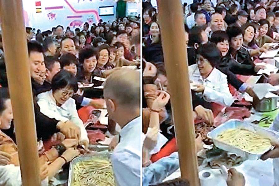 中國大媽「進博會」哄搶食物