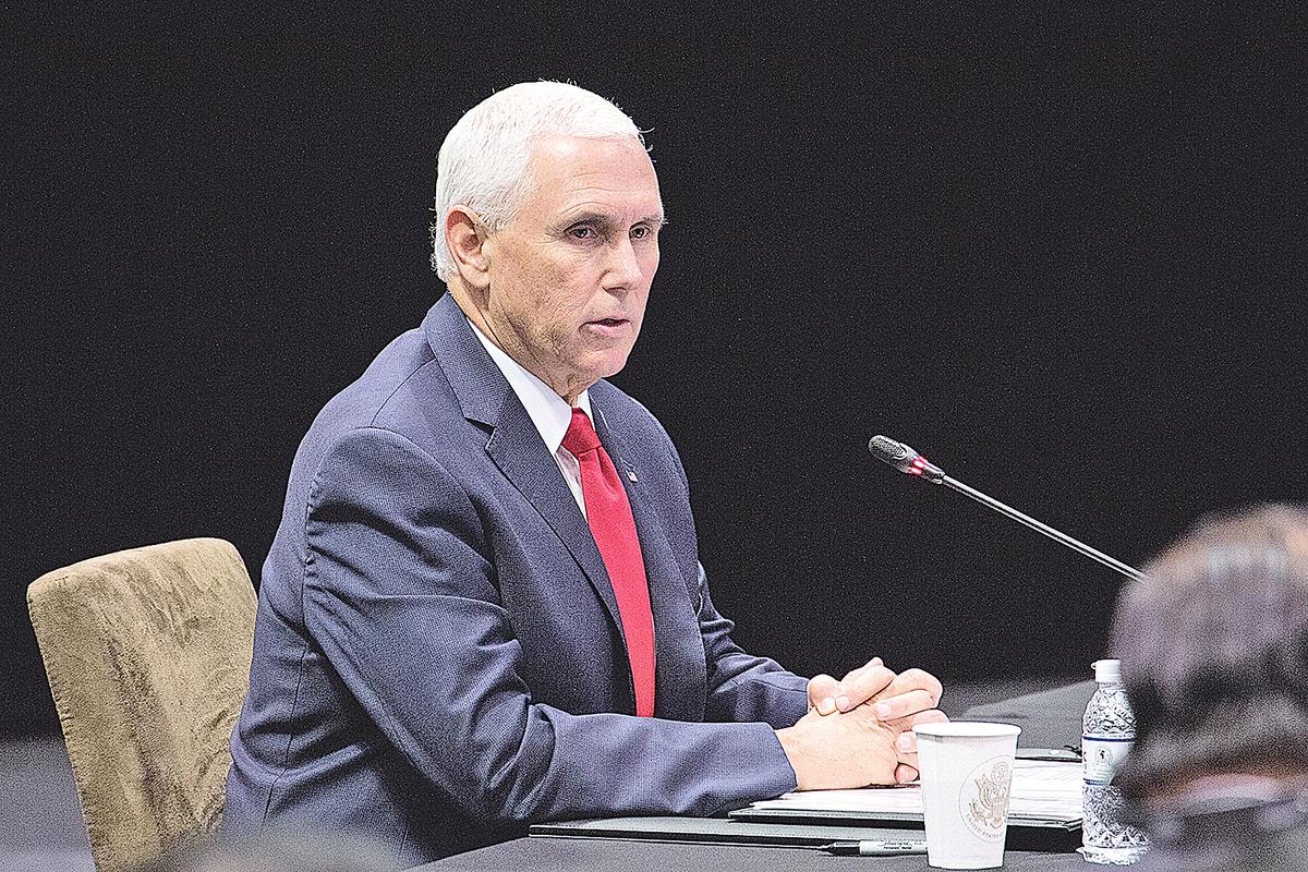 11月15日,美國副總統彭斯在新加坡亞太峰會上。(Ore Huiying/Getty Images)