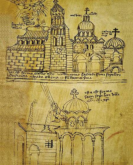 聖墓教堂建成後的繪圖,1149年。(公有領域)