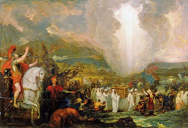 約書亞抬約櫃越過約旦河,Benjamin West。(公有領域)