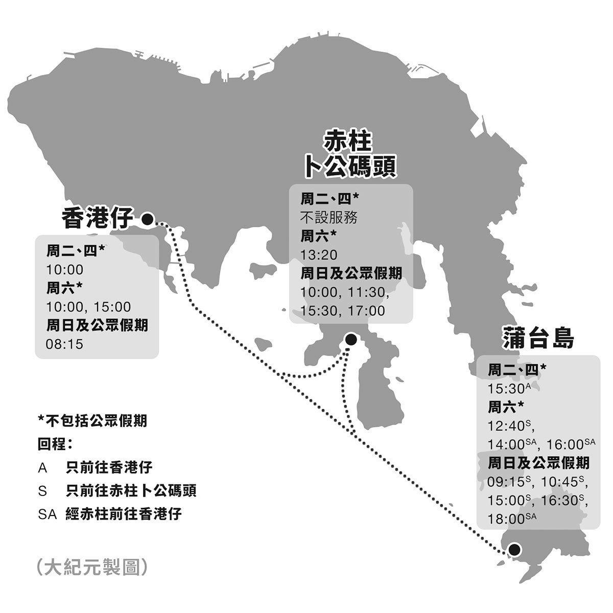 蒲台島船期表。(大紀元製圖)