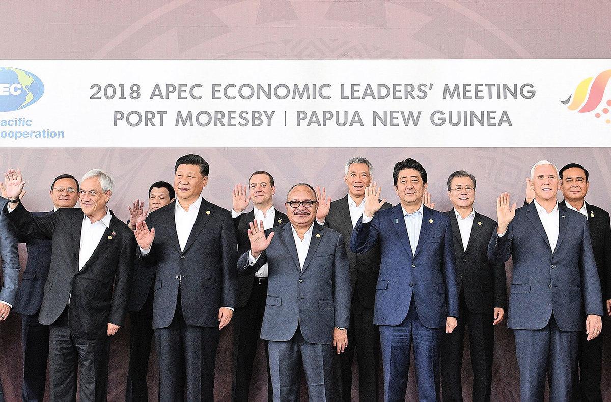 11月18日,世界多國領導人在APEC峰會上。 (Photo credit should read SAEED KHAN/AFP/Getty Images)