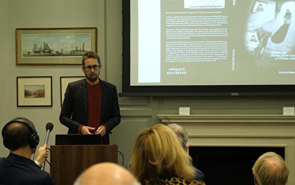 瑞典中國問題專家彼得·達林(Peter Dahlin)在發佈會現場。達林在2016年也曾在中國被迫上電視認罪。( Max Lin/大紀元)