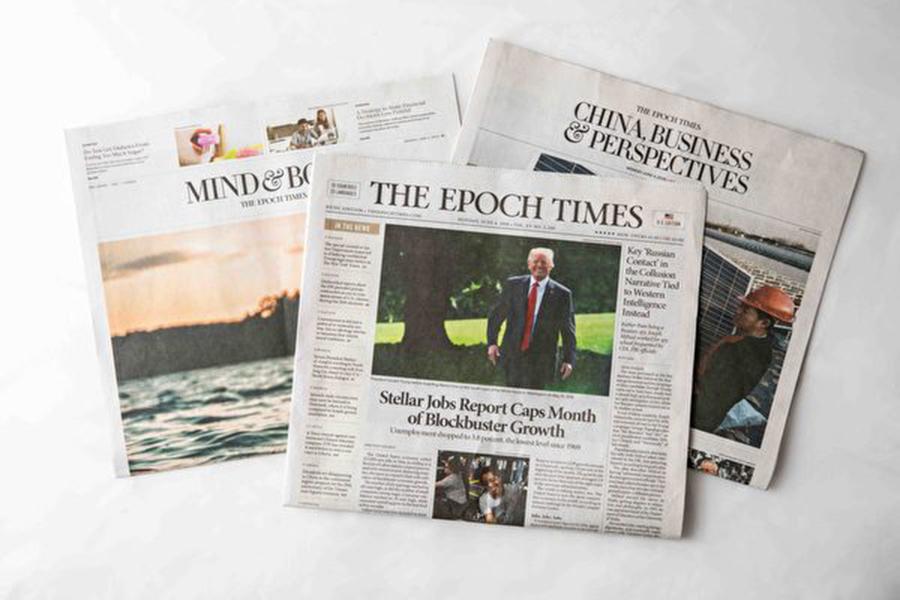 「新加州」副主席、布萊特巴特傳媒(Breitbart)副總裁、經濟學者斯翠特(Chriss Street)表示,特朗普總統和白宮國家貿易委員會主席彼得·納瓦羅常看大紀元。圖為英文大紀元報紙。( Samira Bouaou/大紀元)
