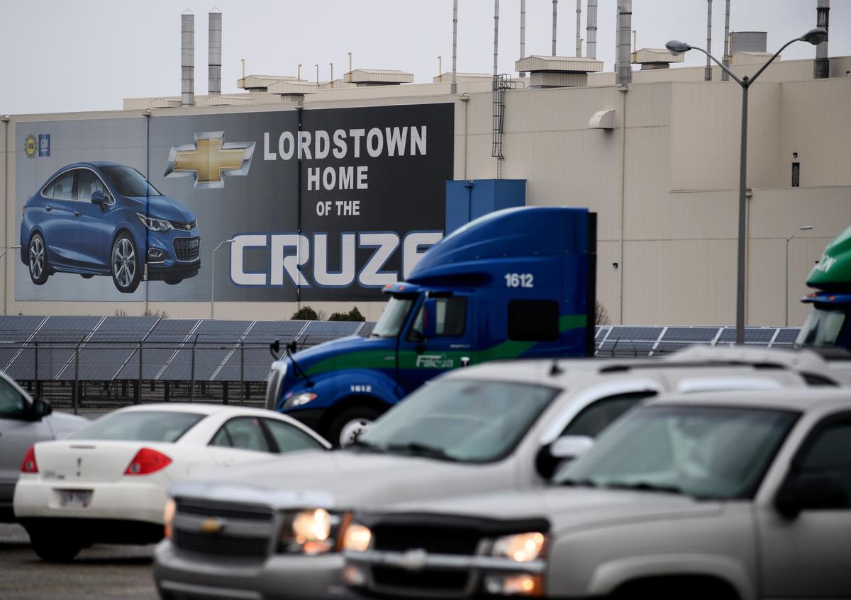 通用汽車公司周一(11月26日)宣佈,計劃削減多達14,800個工作崗位,並終止5個北美工廠的生產。美國總統特朗普周一表示,通用應該停止在中國生產汽車,並在美國設新廠。圖為通用在俄亥俄州的Lordstown工廠。(Jeff Swensen/Getty Images)