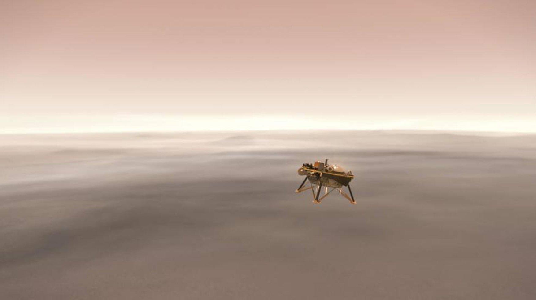 周一(11月26日)下午,美國太空總署(NASA)宣佈,洞察號火星探測器(InSight Lander)已經成功降落火星。(NASA)