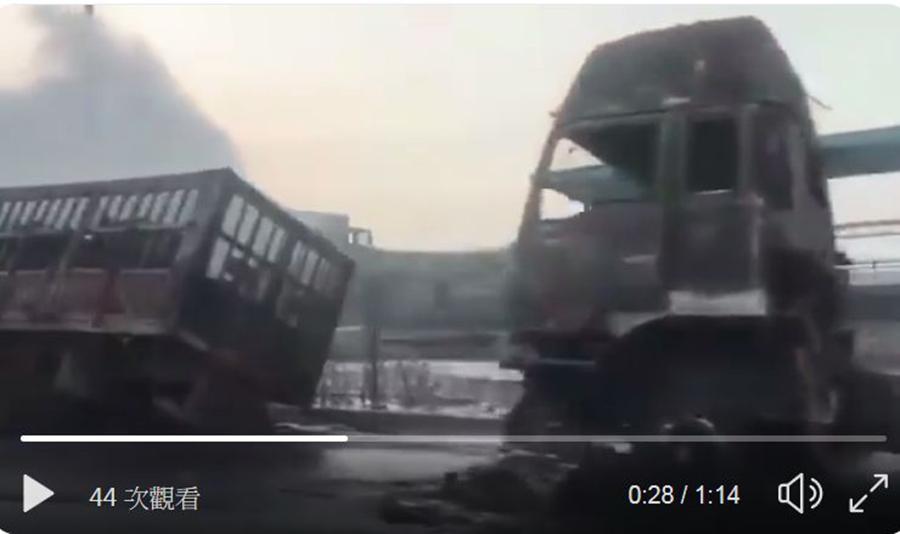 11月28日零點41分,在河北張家口市橋東區河北盛華化工有限公司附近發生的爆炸起火事故,目前已造成22人死亡、22人受傷。(影片截圖)