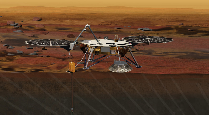 NASA發射第一個專門用於深入火星地表進行挖掘的探測器「洞察號」(InSight)。(NASA)