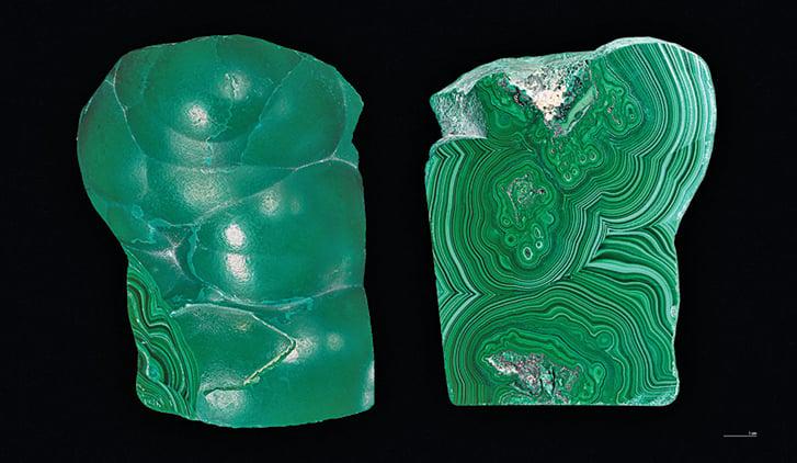 周朝時使用的青色,出自開採的礦石。圖為切開的孔雀石。(Wikimedia Commons)