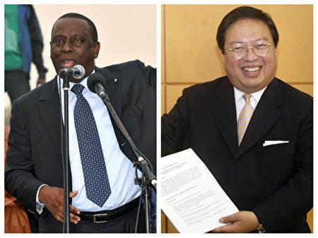 塞內加爾前外長加迪奧(Cheikh Gadio,左)與何志平(右)。(大紀元合成圖片)