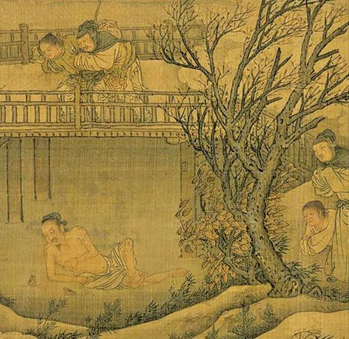 庾袞的父母想帶著他和弟弟們到外面躲避瘟疫。但是庾袞不肯離開哥哥。圖為元〈四孝圖〉局部。(公有領域)