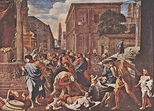 法國居勒德洛內(Jules Elie Delaunay,1828~1891),〈被瘟疫侵襲的羅馬城〉(Peste à Rome),1869年作,巴黎奧塞美術館藏。(藝術復興中心提供)
