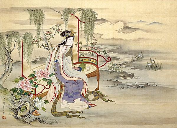 日本畫家細田榮之所繪楊貴妃畫像(圖片:wikimedia commons)