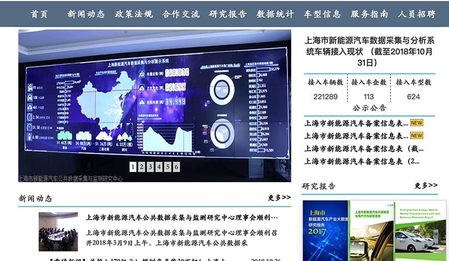 上海市新能源汽車公共數據採集與檢測研究中心官網展示的數據顯示,有來自一百多家車企的22萬輛新能源車納入了其分析系統。(網站截圖)