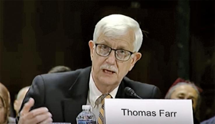 圖為美國國務院國際宗教自由辦公室的第一任主任、宗教自由協會的總裁法爾(Thomas Farr)(美國國會CECC)