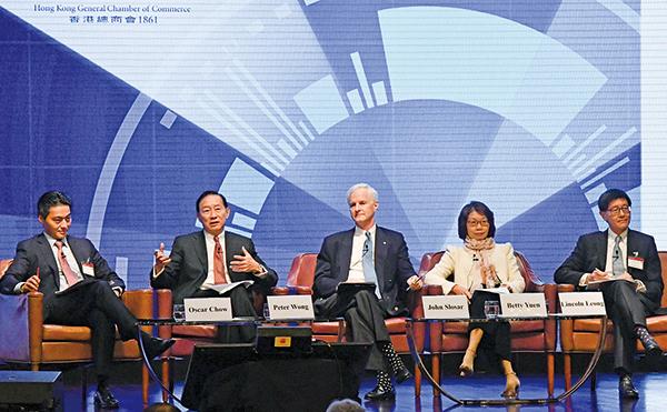 香港總商會舉辦香港商業高峰會,主席夏雅朗表示中美兩國不輕易解決貿易平衡、知識產權等多個問題,提醒本地中小型企業要作最壞打算。(郭威利/大紀元)