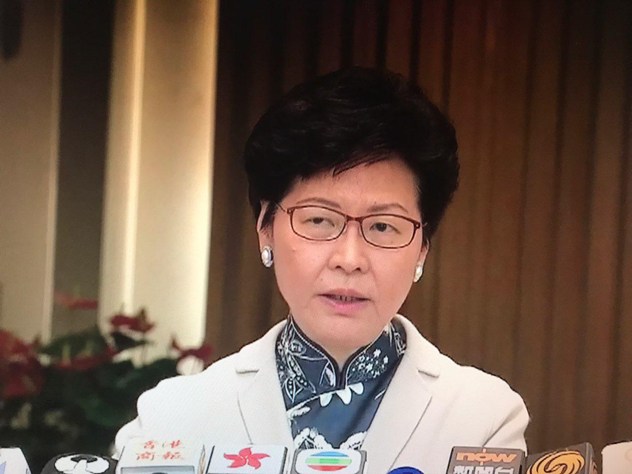 特首林鄭月娥出席行政會議前稱,不打算處理朱凱廸立法會議員身份問題。 (網絡截圖)