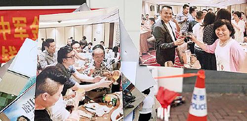 苦主展示麒麟韋爾的聚會照片。她指,幾乎每個活動都有香港公司派人來參與,包括聲稱已離職的麒麟金融高管。(梁珍/大紀元)