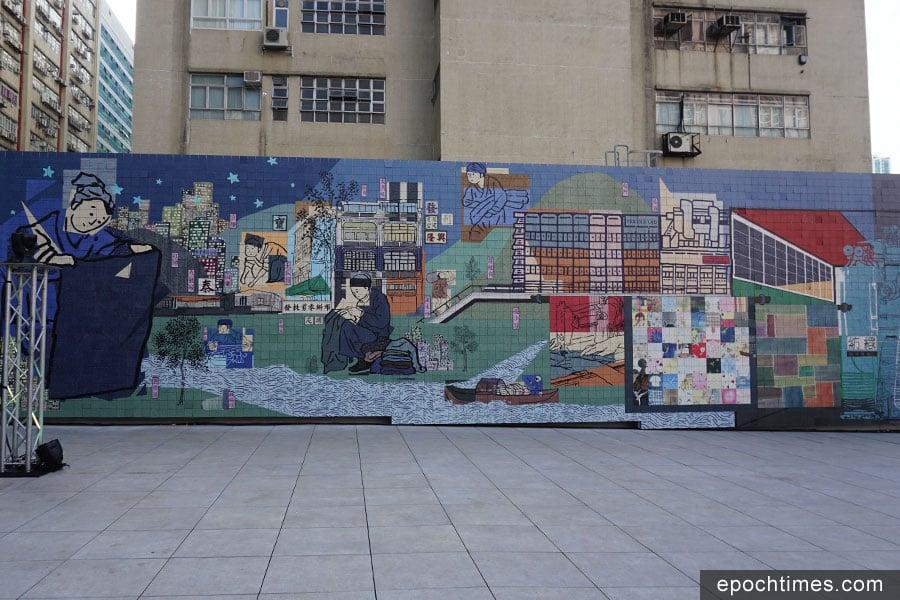 《跡織繪》在位於天台的紗廠公園展出。(曾蓮/大紀元)