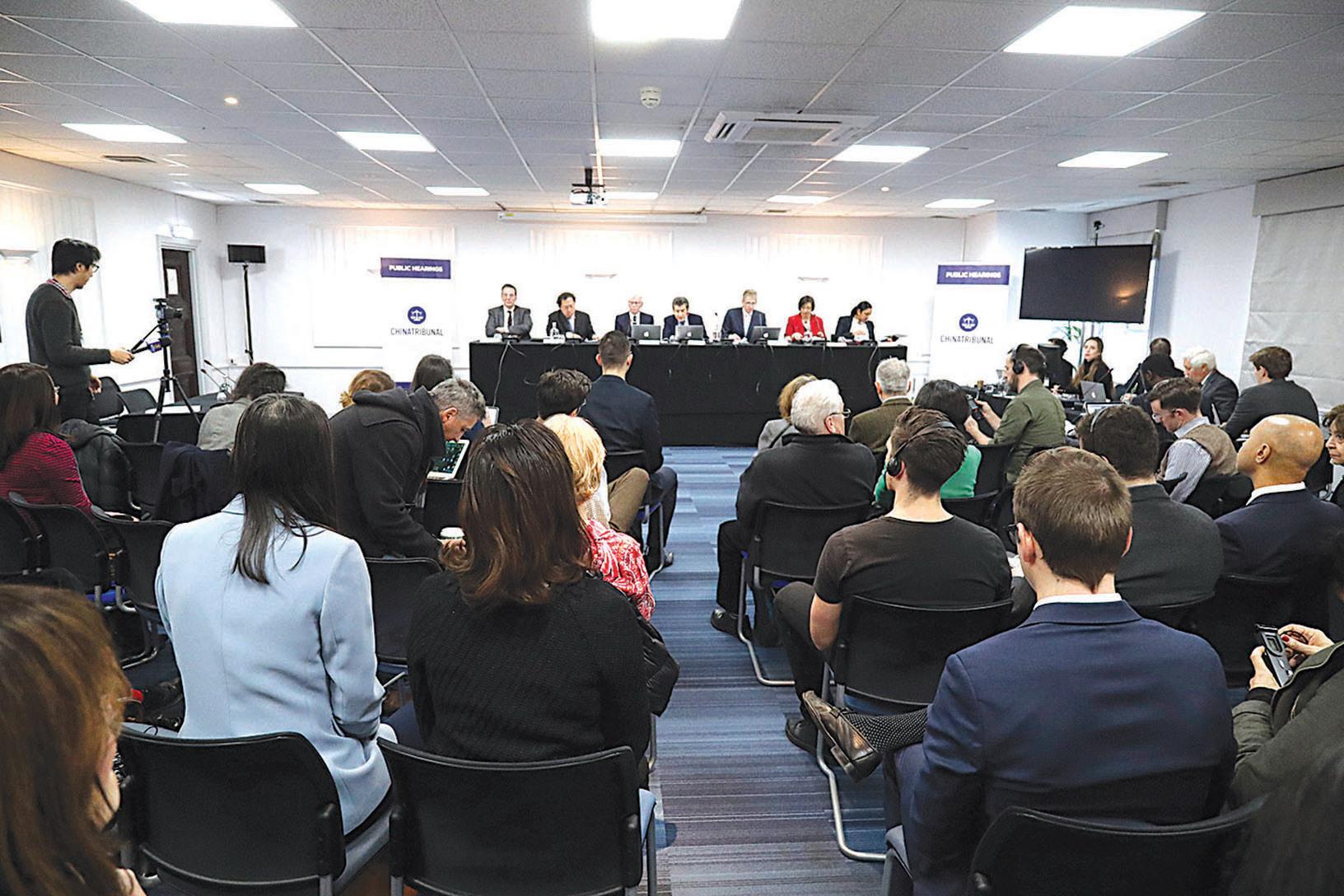 2018 年 12 月 8 日「獨立人民法庭」在倫敦開啟為期三天的聽證會。(Justin Palmer/ 大紀元)