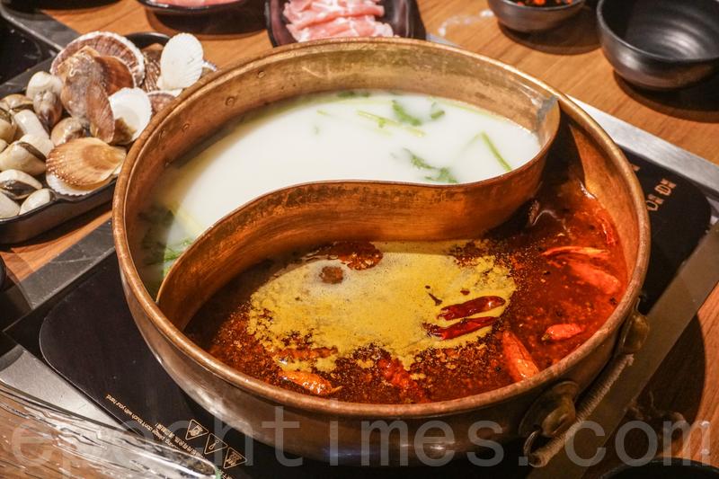麻辣和豬骨湯底。