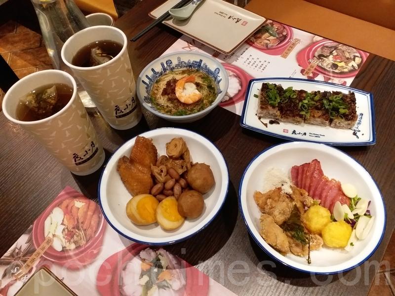 小食拼盤配桂花烏龍茶、滷水拼盤配瑰麗堂煌、擔仔雙拼和台南芋糕。