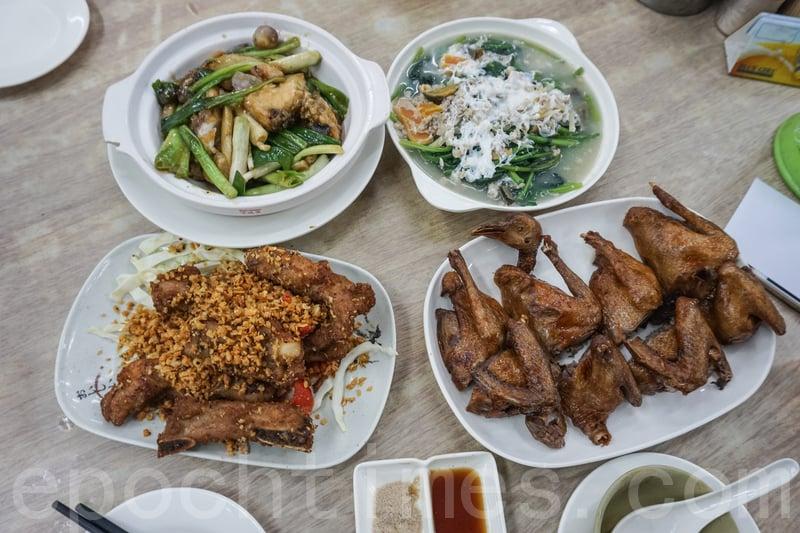 每一檯必點的人氣紅燒乳鴿、椒鹽骨、薑蔥魚腩煲和金銀蛋浸菠菜。(米芝Gi提供)