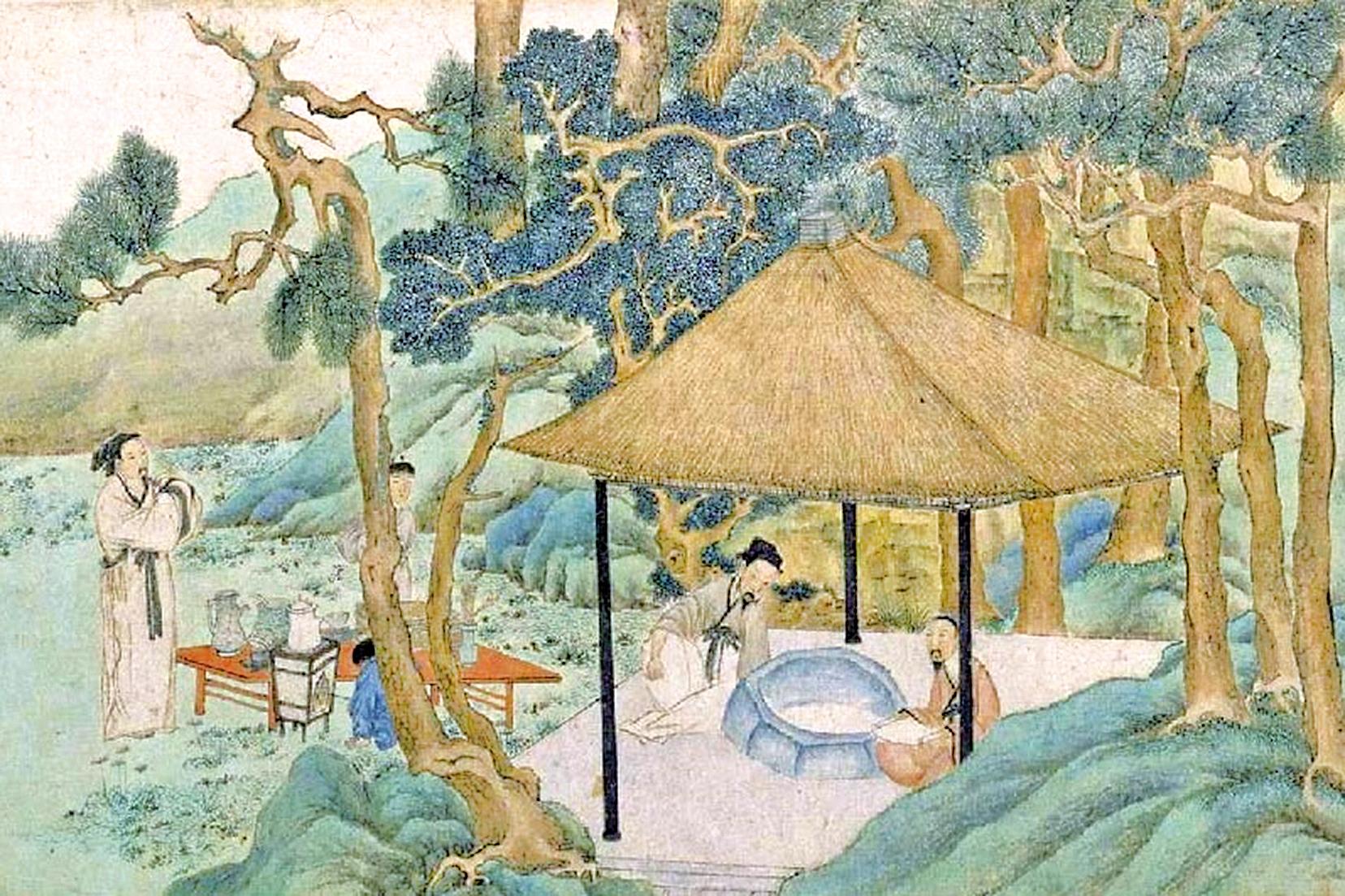 明代文徵明的《惠山茶會圖》(局部),描繪一群文人雅士在二泉亭井邊以茶會友的場景。(公有領域)