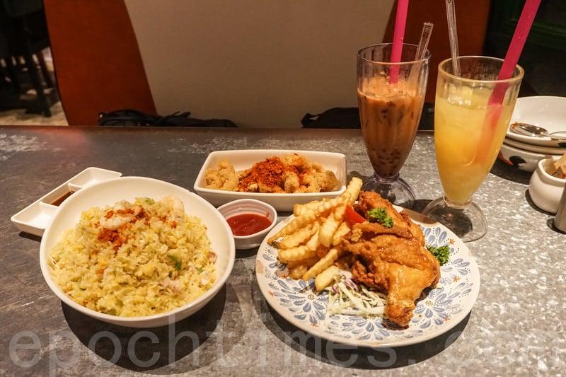 這次點了炸雞髀拼薯條、避風塘鮮魷、避風塘海鮮炒飯和兩杯特飲:紅豆冰粒粒奶茶和菠蘿粒粒冰。