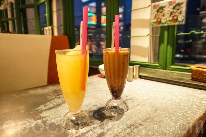 菠蘿粒粒冰(左)和紅豆冰粒粒奶茶。