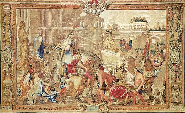 〈亞歷山大凱旋進入巴比倫〉掛毯,原稿為勒布杭油畫作品。(公有領域)
