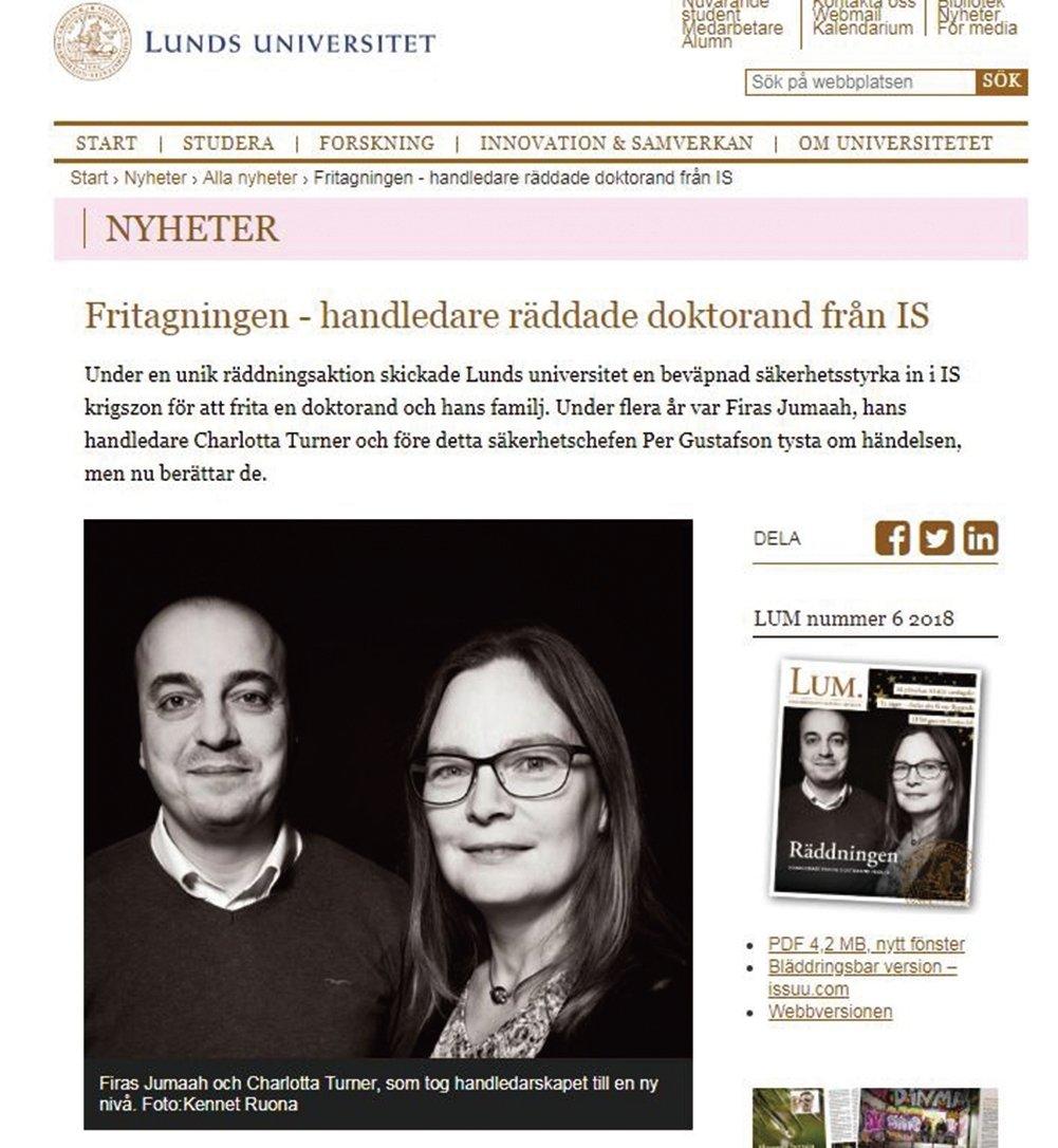 這是《隆德大學雜誌》有關這宗事件的報道。圖中兩人為特納(右)和祖馬(左)。(Lund University網頁擷圖)