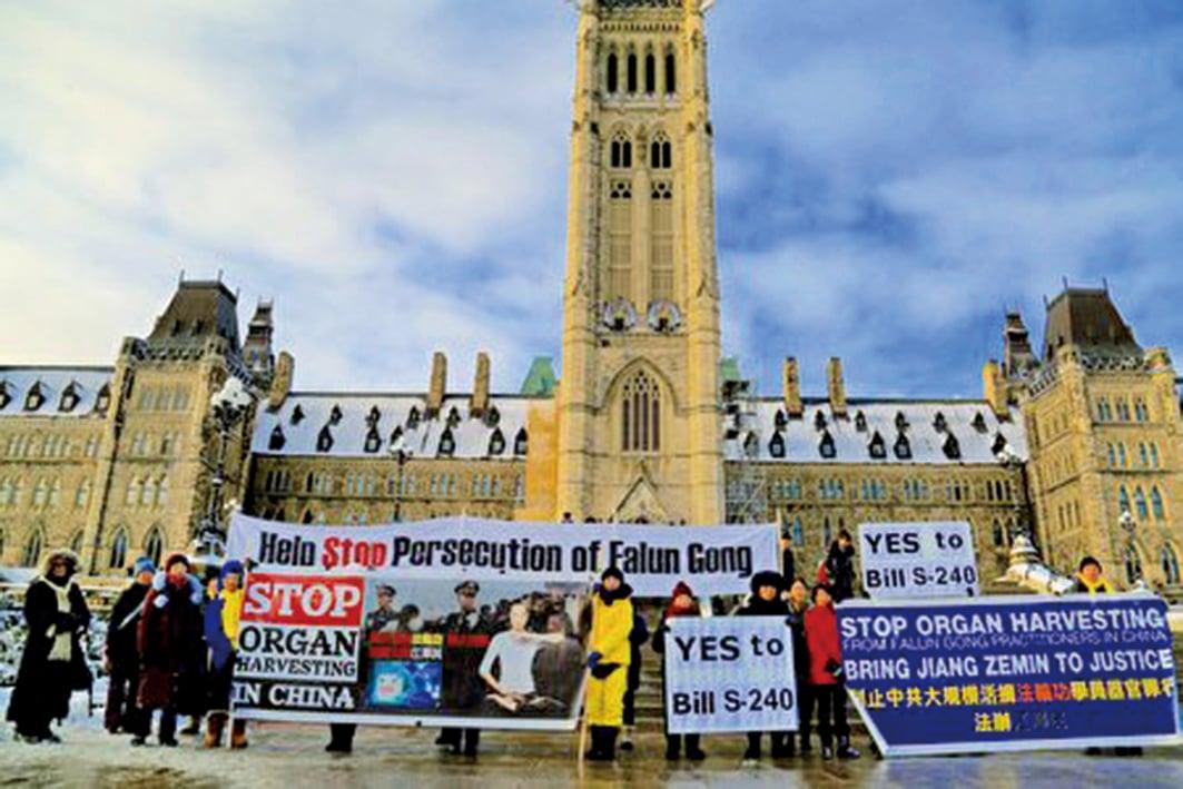 11月20日,部份法輪功學員在國會山外支持S-240法案。(任僑生/大紀元)