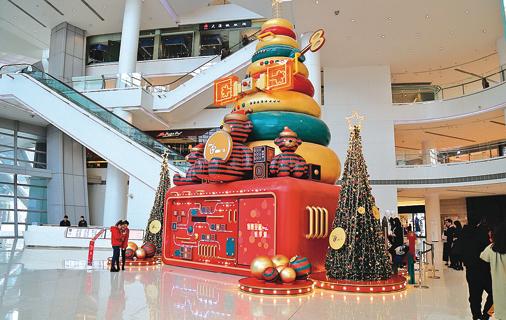 濟南一家商場內的聖誕裝飾。(大紀元資料室)