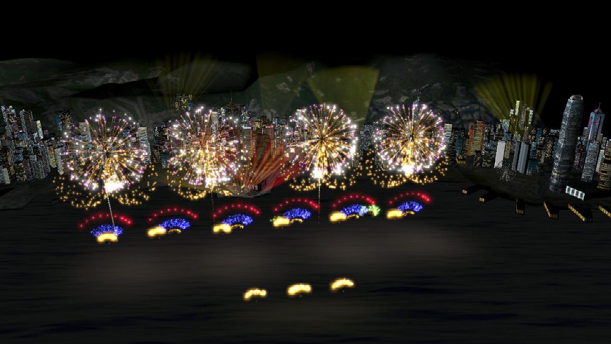 今年跨年煙花音樂匯演歷時10分鐘,並首次引入意大利獲獎煙花Panzera。圖為煙花模擬圖。(旅發局提供)