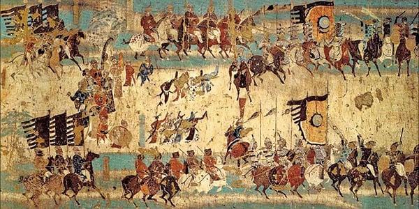 唐太宗所作的大型樂舞《秦王破陣樂》也曾風行日本。圖為敦煌莫高窟217窟壁畫〈破陣樂舞勢圖〉。(公有領域)