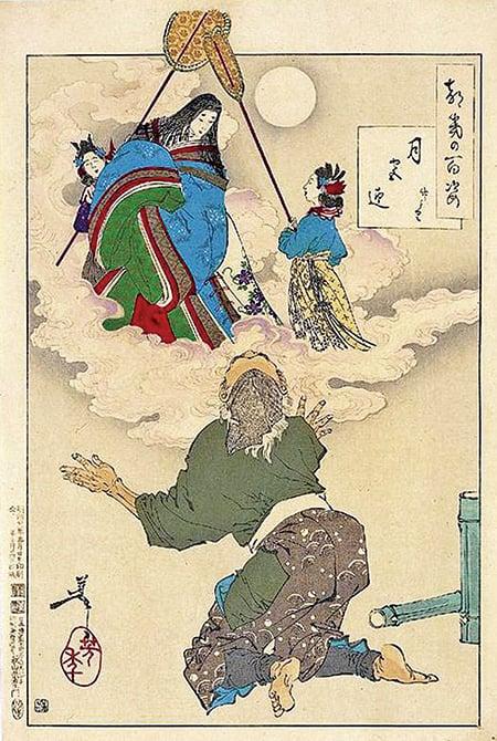 日本最早用假名書寫的故事書《竹取物語》,內容深受中國神佛思想和傳奇故事的影響。圖為其中故事插圖「赫奕姬升天」。(公有領域)