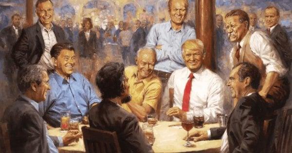 畫中描繪了歷任共和黨總統圍著圓桌談笑風生的場景,而戴紅領帶的特朗普安排在畫的正中心成為視覺中心。(圖片/推特)
