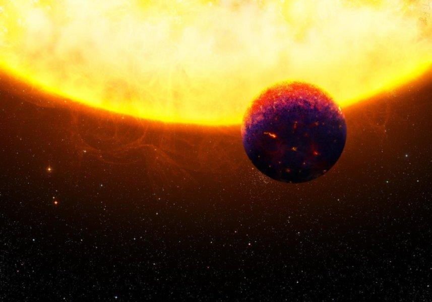 科學家發現一種新的系外行星類別,屬於「超級地球」等級。此類行星可能含有大量的紅寶石和藍寶石。圖為可能屬於此類行星的55 Cancri e的示意圖。(Universities of Zurich)