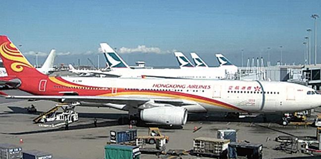 傳海航香港子公司陷債務危機。圖為香港航空班機。( 維基百科)