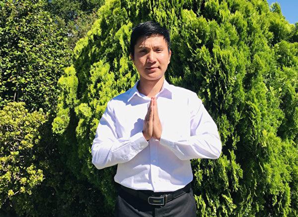 越南裔法輪功學員Pham Van Nhan感謝李洪志師父給予新生。(大紀元)