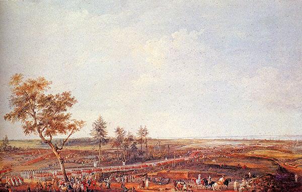 1781年10月19日,法國羅尚博將軍在約克鎮接受英國軍隊投降。(維基公共領域)