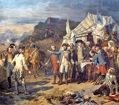 1781年〈約克鎮之圍〉,左邊穿白色法國軍服的是法國羅尚博將軍,他身旁是拉法耶特將軍,對面右側是華盛頓將軍在下達最後一道命令。(維基公共領域)