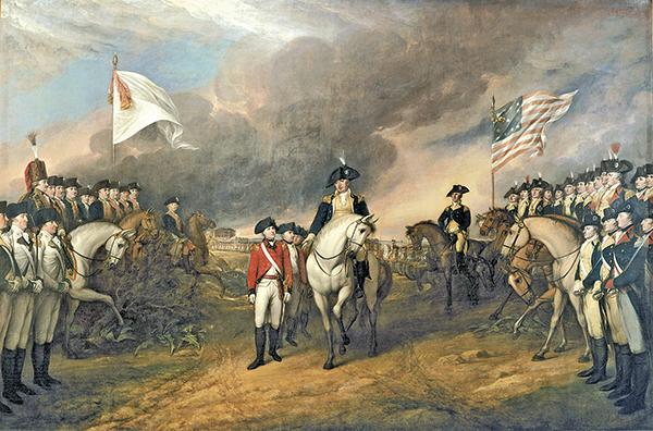 〈康沃利斯投降〉,John Trumbull 1820年繪,描繪了英國投降法軍(左)和美軍(右)。(維基公共領域)