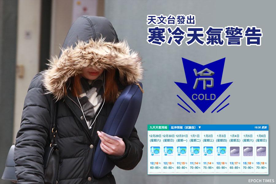 天文台在今日下午8時發出今年入冬以來第一個寒冷天氣警告,預測本港未來數天天氣寒冷。(大紀元合成圖)