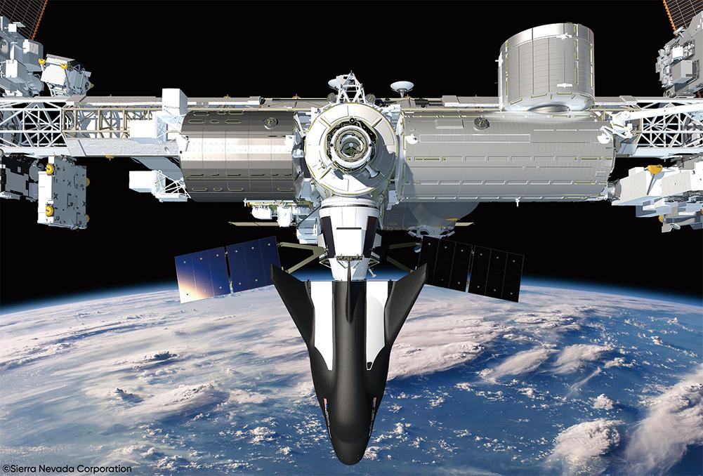 「追夢者」航天飛機與太空站對接示意圖。(SNC)