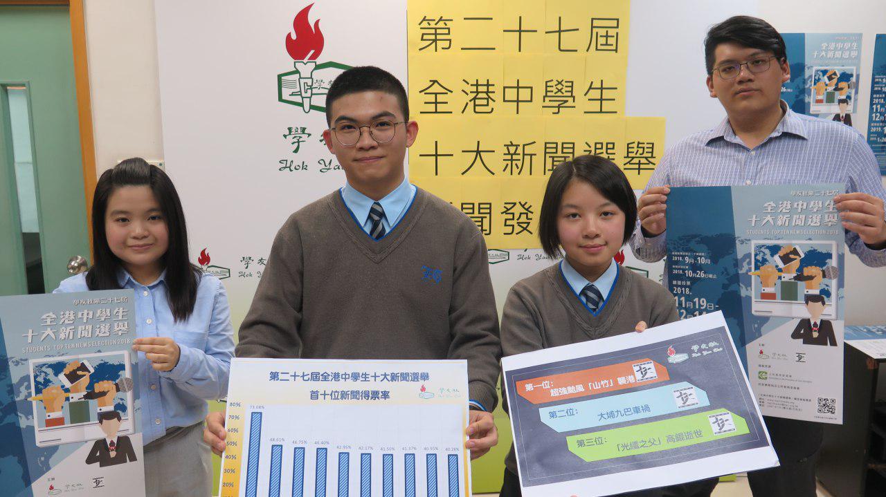 學友社昨日公佈「全港中學生十大新聞選舉」結果。(學友社提供)