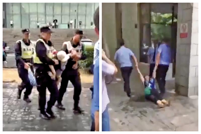 中共警察當街暴力執法。(網絡圖片)