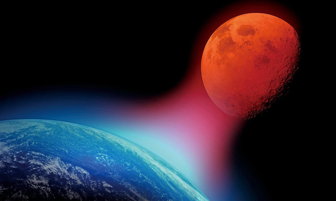 2019年將會五個日食,一個罕見的水星凌日,流星雨,以及備受關注的超級血狼月(如圖)。(Shutter Stock)